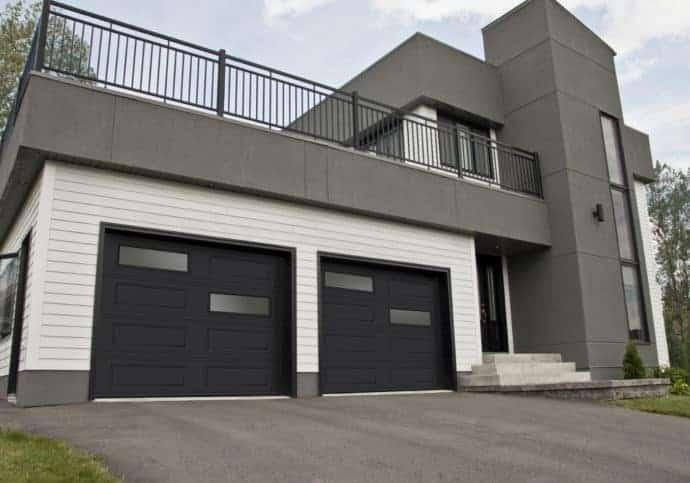 Garage Door Modern Steel Flush with Staggered Windows