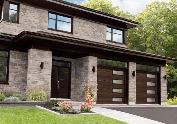 Garage Door Modern Wood Look With Windows