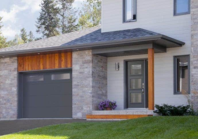 T23 Traditional Garage Doors - Flush Steel in Charcoal