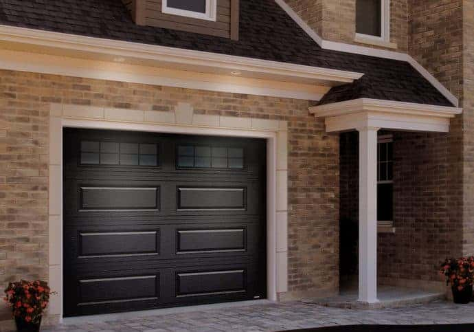 Garage Doors Traditional Long Panel with Windows in Black