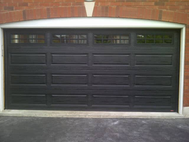 T20 Traditional Garage Doors - Long Panel Black Garage Door