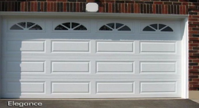 Garage Doors Long Panel with Windows in White