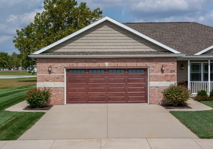 Garage Doors Long Panel Wood Tone