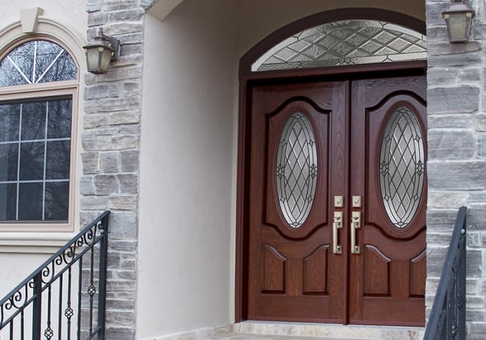 Mahogany Grain Oval Double & Transom