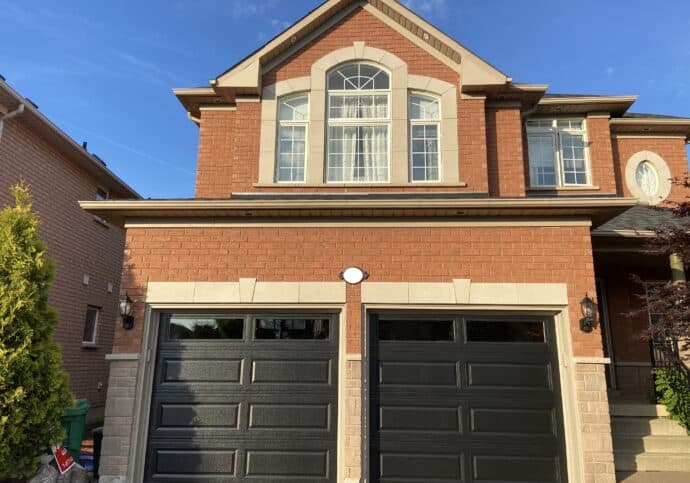 a house with a garage door